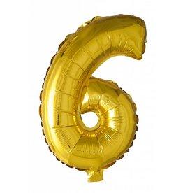 Folie ballon Cijfer 6 Goud (40 cm)