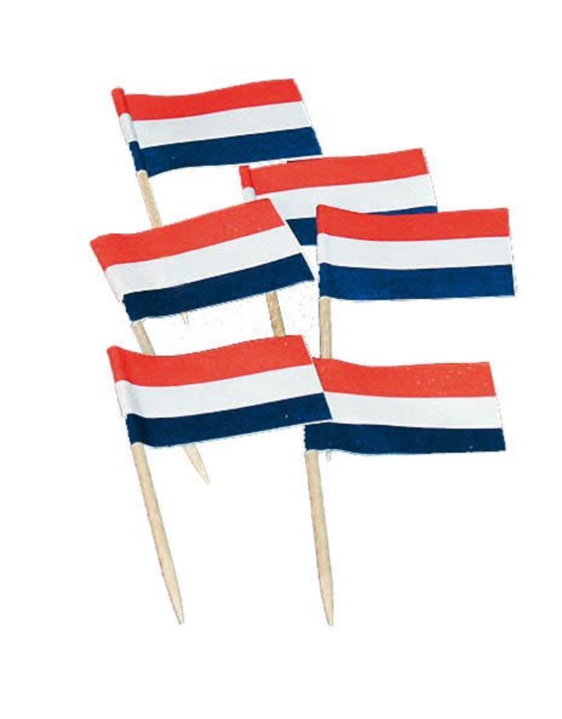 Vlaggetjes Rood/Wit/Blauw (7 cm, 50 stuks)