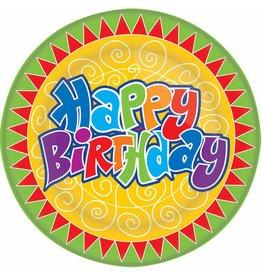 Bordjes Happy Birthday (23 cm, 8 stuks)