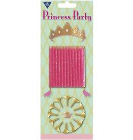 12 Taartkaarsjes + Houders Princess