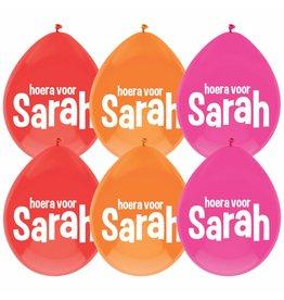 Ballonnen Hoera voor Sarah (6 stuks)