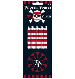 12 Taartkaarsjes + Houders Piraten