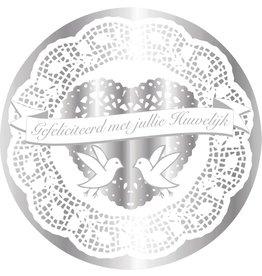 Muurdeco Rond Huwelijk, Zilver  (47 cm)