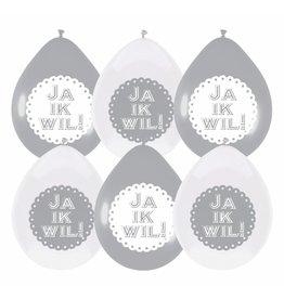 Ballonnen Huwelijk, Ja Ik Wil (6 stuks)