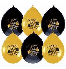 Ballonnen Happy New Year (6 stuks)