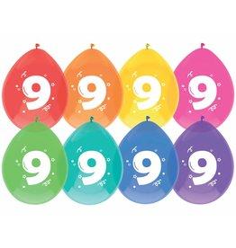 Ballonnen Cijfer 9 (30 cm, 8 stuks)