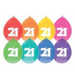 Ballonnen Cijfer 21 (30 cm, 8 stuks)