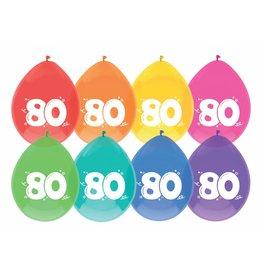 Ballonnen Cijfer 80 (30 cm, 8 stuks)