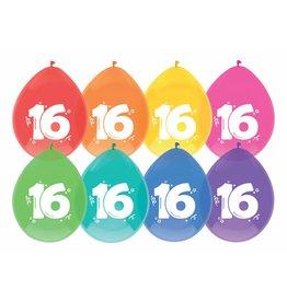 Ballonnen Cijfer 16 (30 cm, 8 stuks)