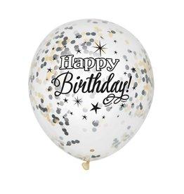 Glitter Ballon Happy Birthday met Confetti, Zwart, Goud (30 cm, 6 stuks)
