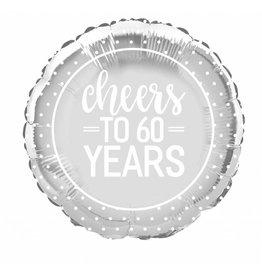 "18"" Pkg Silver Cheers 60 jaar Foil Balloon"