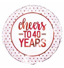 """18"""" Pkg Red Cheers 40 jaar Foil Balloon"""