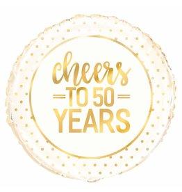 """18"""" Pkg Gold Cheers 50 jaar Foil Balloon"""