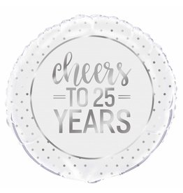 "18"" Pkg Silver Cheers 25 jaar Foil Balloon"