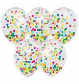 confetti ballonnen zijdevloei kleur 5 st.