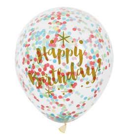 "6 Clear 12"" Gltzy Birthday Balloons met confetti"