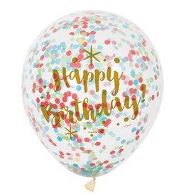 Glitter Ballon Happy Birthday met Confetti, Multi (30 cm, 6 stuks)
