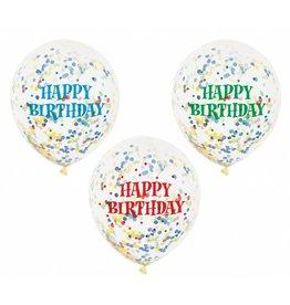 "6 Clear 12"" Happy Birthday Balloons met confetti"