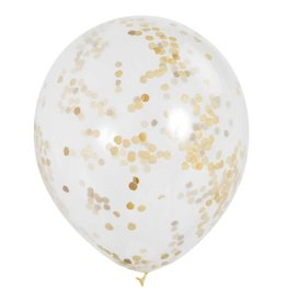"6 Clear 12"" Balloons met gouden confetti"