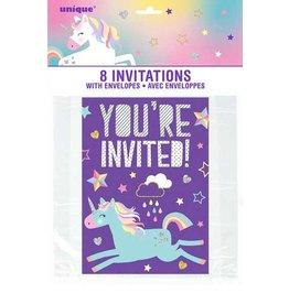 8ct Unicorn uitnodigingen
