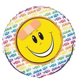 Folie Ballon Get Well met Smiley (45 cm)