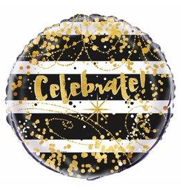 Folie Ballon Celebrate, Zwart/Goud (45 cm)