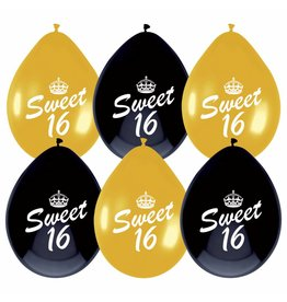 Ballonnen Sweet 16 (30 cm, 6 stuks)