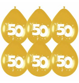 """Ballonnen Goud """"50"""" 6 st. 30 cm"""