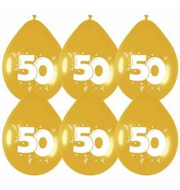 Haza Ballonnen Goud 50 jaar (30 cm, 6 stuks)