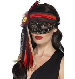 Masquerade Piraat oogmasker, zwart