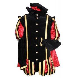 """Piet fluweel luxe met cape """"Malaga"""", Zwart-Rood"""