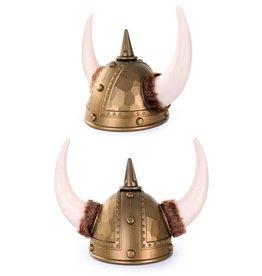 Viking helm goud met bont