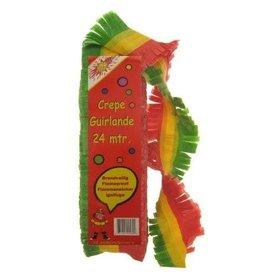 Crepe guirlande brandveilig rood/geel/groen 24m bedrukt.