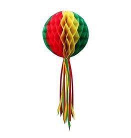 Decoratie Bol rood/geel/groen 50 cm moeilijk brandbaar.