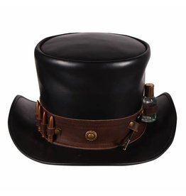 "Hoge hoed leer ""Steampunk"" , Zwart"