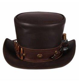 """Hoge hoed leer """"Steampunk"""" , Bruin"""