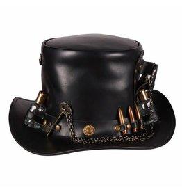 "Hoge hoed leer ""Steampunk deluxe"" , Zwart"