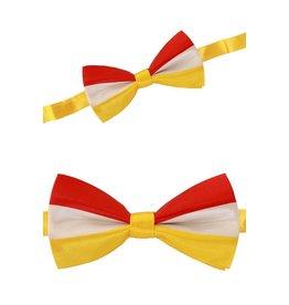 Luxe strik rood/wit/geel 12 x 6.5 cm