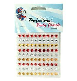 Body jewels 90 st assortie model, rood-wit-geel,