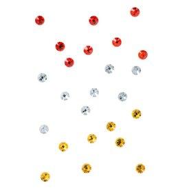 Swarovski steentjes Oeteldonk, rood-wit-geel, ss16 (3,8 mm - 4,0 mm) per 24