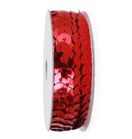 Paillettenband op rol metallic rood 2,75m