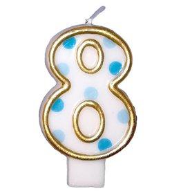Nummerkaars 8, blauw