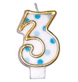 Nummerkaars 3, blauw