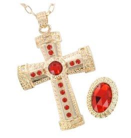 Sinterklaas, Kruis met ketting en ring luxe (set), Goud-Rood