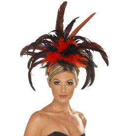 Burlesque Diadeem, zwart/rood, met veren