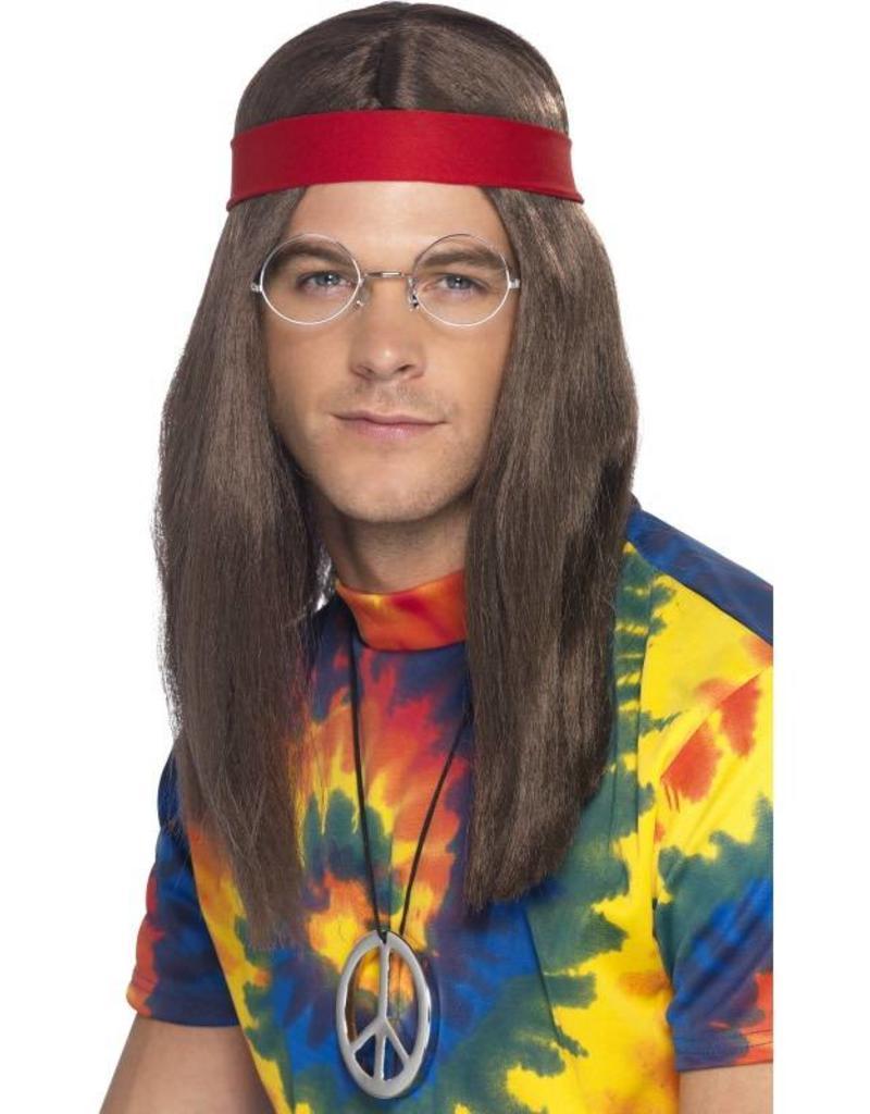 5f7a3175090041 Hippie Man Set, bruin, met pruik, bril, hanger en rode haarband ...
