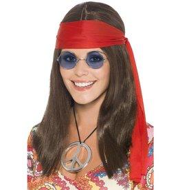 Hippie Chick Set, bruin, met pruik, bril, hanger en haarband