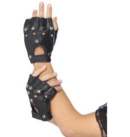 Punk handschoenen, zwart, met stuts
