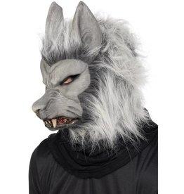Weerwolf masker, grijs met haar en oren.