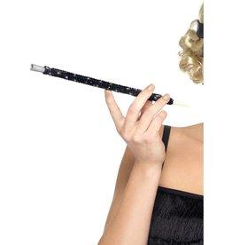 Sequin sigarettenhouder, lang, zwart